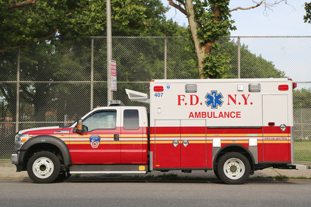 NEW YORK - JUNE 28  FDNY Ambulance in Brooklyn on June 28, 2014  FDNY is the largest combined Fire and EMS provider in the world