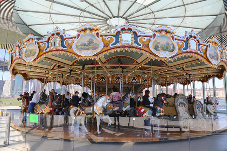 BROOKLYN - April 24  Traditional fairground Jane s carousel in Brooklyn on April 24, 2014  It is historic and beautifully restored carousel build in 1922 a gift of Jane and David Walentas  新闻类图片