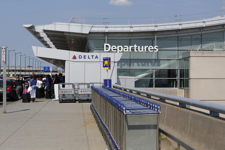 runways: NEW YORK- JULY 10  Delta Airline Terminal 4 at John F Kennedy International Airport in New York on July 10, 2014  JFK is one of the biggest  airports in the world with 4 runways and 8 terminals