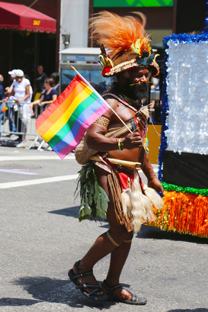 sexual orientation: NEW YORK - June 29, 2014  LGBT Pride Parade participant in New York City on June 29, 2014  LGBT pride march takes place during pride week and is the culmination of week long festivities