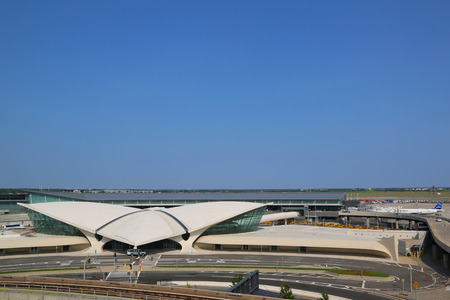 jetblue: NEW YORK- JULY 22  Areal view of the historic TWA Flight Center and JetBlue Terminal 5 at John F Kennedy International Airport in New York on July 22, 2014