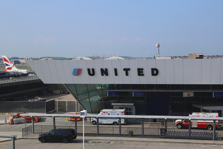 runways: NEW YORK- JULY 22  United Airlines Terminal 7 at John F Kennedy International Airport in New York on July 22, 2014  JFK is one of the biggest airports in the world with 4 runways and 8 terminals
