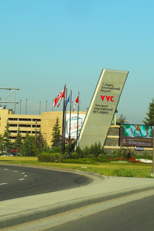 CALGARY, CANADA - JULY 30  Entrance at Calgary International Airport on July 30, 2014  The airport offers non-stop flights to major cities in Canada, USA, Mexico, the Caribbean, Europe and East Asia