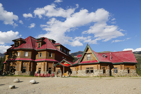 jah: ALBERTA, CANADA - JULY 27  Historical Num-Ti-Jah Lodge near Bow Lake in Banff National Park on July 27, 2014  Num-Ti-Jah is an Historic Lodge located on the shores of the magnificent Bow Lake