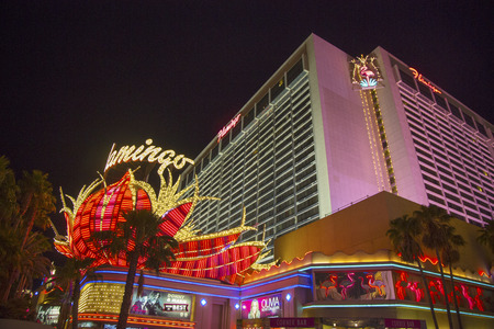 siegel:  LAS VEGAS, NEVADA - MAY 12   Neon sign in the front of Flamingo Las Vegas Hotel and Casino on May 12, 2014  Mobster Bugsy Siegel opened The Flamingo Hotel   Casino on December 26, 1946 Editorial