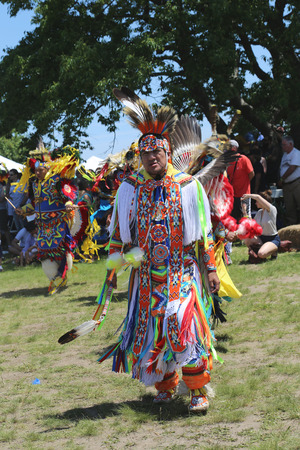 NEW YORK - JUNE 8  Unidentified Native American dancers at the NYC Pow Wow in Brooklyn on June 8, 2014  A pow-wow is a gathering and Heritage Celebration of North America s Native people  Sajtókép