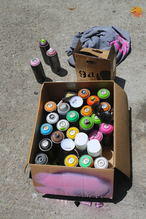 NEW YORK - JUNE 1  Aerosol paint ready for mural art painting at East Williamsburg in Brooklyn on June 1, 2014