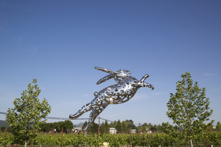 argent: NAPA VALLEY, CA - APRIL 15 Bunny Foo Foo sculpture at the Hall Winery in Napa Valley on April 15, 2014 35-foot tall rabbit created by artist Lawrence Argent from 3 3 metric tons of stainless-steel