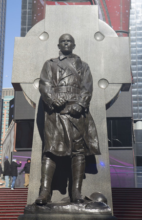 times new roman: NEW YORK - JANUARY 30  Father Duffy Monument on Times Square in Manhattan on January 30, 2014  Francis Patrick Duffy was a Canadian American soldier, Roman Catholic priest and military chaplain Editorial