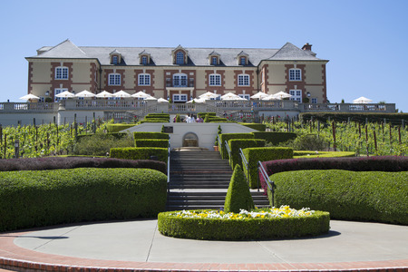 singular architecture: NAPA VALLEY, CA - APRIL 13  Domaine Carneros Winery in Napa Valley on April 13, 2014 Domaine Carneros is a singular winery best known as a small grower producer of methode champenoise sparkling wine  Editorial