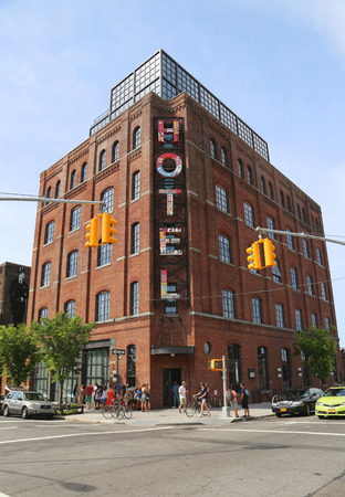 influential: NEW YORK - JUNE 21  Boutique  Wythe Hotel in Williamsburg section in Brooklyn on June 21, 2014  Williamsburg is an influential hub of current indie rock and hipster culture