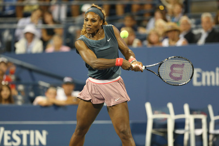 atp: NEW YORK - AUGUST 29 Sixteen times Grand Slam champion Serena Williams during first round doubles match with teammate Venus Williams at US Open 2013 at Billie Jean King National Tennis Center on August 29, 2013 in New York Editorial