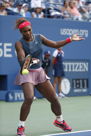 atp: NEW YORK - AUGUST 31  Sixteen times Grand Slam champion Serena Williams during her third round match at US Open 2013 against Yaroslava Shvedova at Billie Jean King National Tennis Center on August 31, 2013 in New York