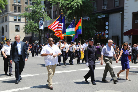 commissioner: NEW YORK - June 29, 2014   The New York City Police Commissioner William Bratton participates at LGBT Pride Parade in New York City on June 29, 2014