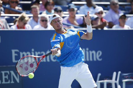atp: NEW YORK - AUGUST 20  Two times Grand Slam champion Lleyton Hewitt practices for US Open 2013 at Louis Armstrong Stadium at Billie Jean King National Tennis Center on August 20, 2013 in New York Editorial