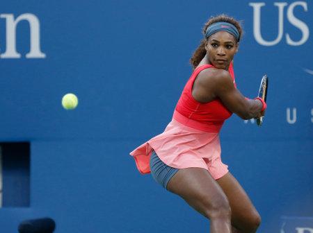 NEW YORK - SEPTEMBER 8 Seventeen times Grand Slam champion Serena Williams during her final match at US Open 2013 against Victoria Azarenka at Billie Jean King National Tennis Center on September 8, 2013 in New York