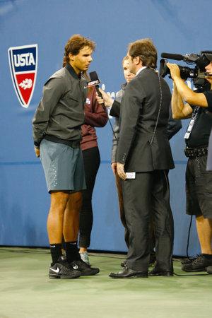 atp: NEW YORK - SEPTEMBER 9  Thirteen times Grand Slam champion Rafael Nadal giving interview  after he won US Open 2013 at Billie Jean King National Tennis Center on September 9, 2013 in New York