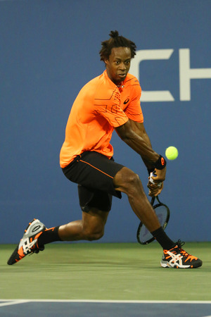 atp: NEW YORK - AUGUST 29  Professional tennis player Gael Monfils during second round match at US Open 2013 against John Isner at Billie Jean King National Tennis Center on August 29, 2013 in New York