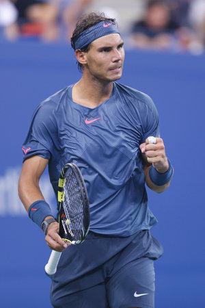 grand hard: NEW YORK- SEPTEMBER 2  Twelve times Grand Slam champion Rafael Nadal during his fourth round match at US Open 2013 against Philipp Kohlschreiber at Arthur Ashe Stadium on September 2, 2013 in New York