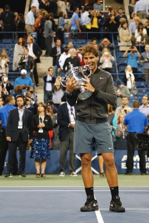 nadal: NEW YORK - SEPTEMBER 9 US Open 2013 champion Rafael Nadal holding US Open trophy during trophy presentation after his final match win against Novak Djokovic at Billie Jean King National Tennis Center on September 9, 2013 in New York Editorial