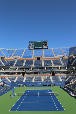 billie: NEW YORK- AUGUST 18  Arthur Ashe Stadium at the Billie Jean King National Tennis Center ready for US Open tournament on August 18, 2014 in New York