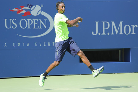 atp: NEW YORK - AUGUST 19  Professional tennis player Gael Monfis practices for US Open 2014 at Billie Jean King National Tennis Center on August 19 , 2014 in New York