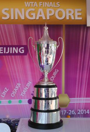 billie: NEW YORK - AUGUST 26: WTA Billie Jean King Championship Trophy on display at Billie Jean King National Tennis Center on August 26, 2014 in New York.