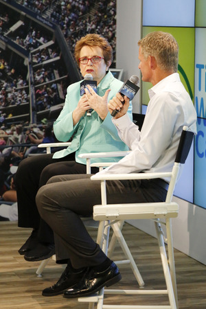 billie: NEW YORK - AUGUST 30: Tennis legend and Grand Slam Champion Billie Jean King during press conference at Billie Jean King National Tennis Center on August 30, 2014 in New York