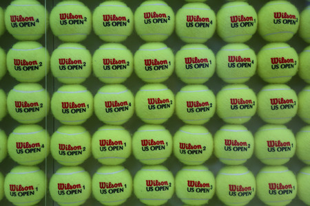 NEW YORK - AUGUST 31: US Open Wilson tennis balls at Billie Jean King National Tennis Center on August 31, 2014 in New York. Wilson is the Official Ball of the US Open since 1979 新闻类图片