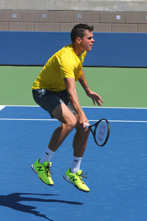 NEW YORK - AUGUST 24: Professional tennis player Milos Raonic practices for US Open 2014 at Billie Jean King National Tennis Center on August 24 , 2014 in New York