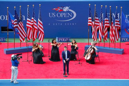 god bless: NEW YORK- SEPTEMBER 7 Nick Jonas sings God Bless America before the US Open 2014 Women\