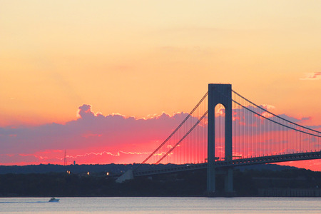 Verrazano Bridge at sunset in New York.