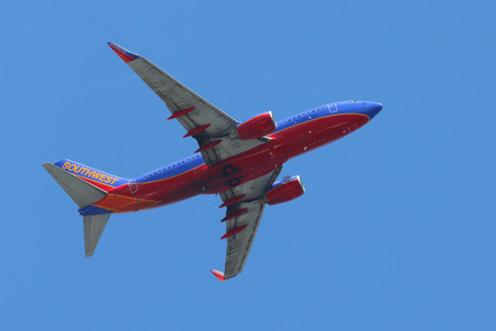 NEW YORK - AUGUST 24: Southwest Airlines Boeing 737 plane taking off from La Guardia Airport on August 24, 2014. Southwest Airlines is a major U.S. airline and the world\ Stock Photo - 31691092