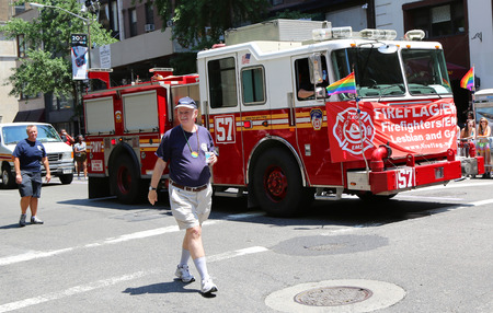 sexual orientation: NEW YORK - JUNE 29: FDNY truck at LGBT Pride Parade in New York City on June 29, 2014. LGBT pride march takes place during pride week and is the culmination of week long festivities