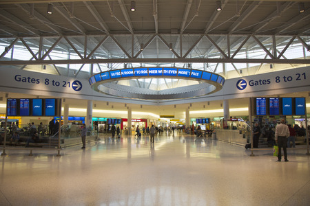 jetblue: NEW YORK- MAY 8:  JetBlue Terminal 5 at John F Kennedy International Airport in New York on May 8, 2014