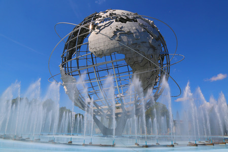 NEW YORK - AUGUST 18: 1964 New York World s Fair Unisphere in Flushing Meadows Park on August 18, 2014. It is the world\