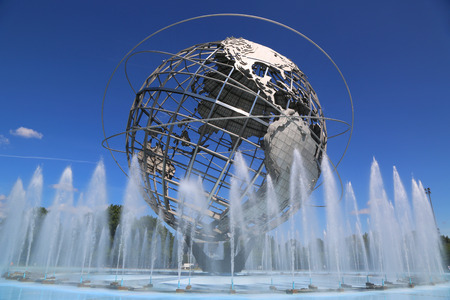 world's: NEW YORK - AUGUST 18: 1964 New York World s Fair Unisphere in Flushing Meadows Park on August 18, 2014. It is the world\