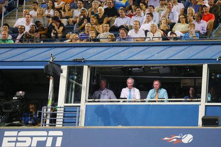 NEW YORK - SEPTEMBER 4 ESPN analysts John McEnroe and Patrick McEnroe comment match at US Open 2014 at Billie Jean King National Tennis Center on September 4, 2014 in NY