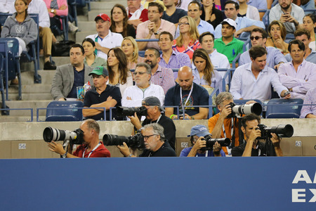 billie: NEW YORK - AUGUST 26 Professional photographers at US Open 2014 at Billie Jean King National Tennis Center on August 26, 2014 in New York