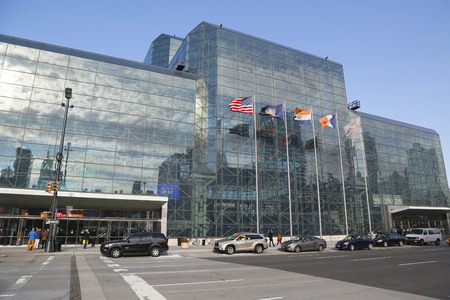 NEW YORK - OCTOBER 30: Javits Convention Center in Manhattan on October 30, 2014. The convention center has a total area space of 1,800, 000 square ft and has 840,000 square ft of total exhibit space