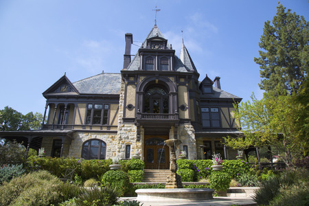 silverado: NAPA VALLEY, CA - APRIL 15: The historical Rhine House at Beringer Vineyards in Napa Valley on April 15, 2014. The Rhine House built in 1883 has been placed on National Register of Historic Places