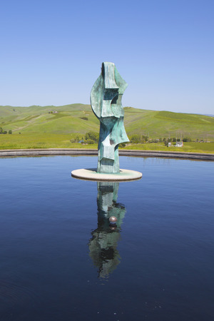 NAPA VALLEY, CA - APRIL 13:Artesa Winery in Napa Valley on April 13, 2014. Built into an hilltop within the Carneros Appellation near town of Napa, Artesa winery features sculptures by Gordon Huether