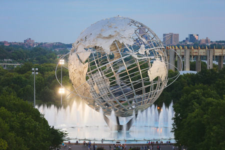 NEW YORK - AUGUST 28: 1964 New York World s Fair Unisphere in Flushing Meadows Park on August 28, 2014. It is the worlds largest global structure, rising 140 feet and weighing 700 000 pounds