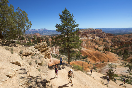 BRYCE CANYON, UTAH - SEPTEMBER 23: Hikers at Queens Garden trial at Bryce Canyon National Park in Utah on September 23, 2014