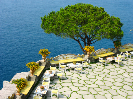 Traditional open air terrace at the Amalfi Coast in South Italy photo