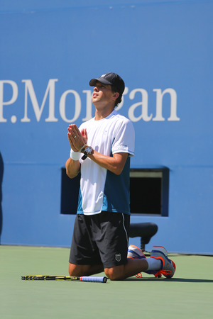 doubles: NEW YORK  -SEPTEMBER 4:Grand Slam champion Mike Bryan during US Open 2014 semifinal doubles match at Billie Jean King National Tennis Center on September 4, 2014 in Flushing, NY