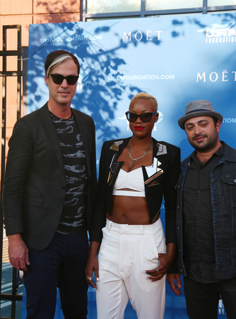 tantrums: NEW YORK - AUGUST 25 Fitz and The Tantrums American Neo Soul and Indie Pop Band at the red carpet before US Open 2014 opening night ceremony at National Tennis Center on August 25, 2014 in New York