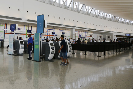 runways: NEW YORK- JULY 10: Inside of JetBlue Terminal 5 at JFK International Airport in New York on July 10, 2014. JFK is one of the biggest airports in the world with 4 runways and 8 terminals Editorial