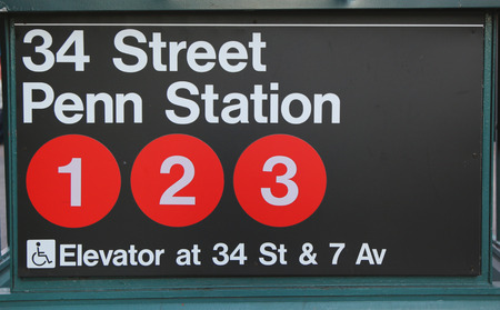 NEW YORK CITY - OCTOBER 12: Subway entrance at 34 Street Penn Station in NYC on October 12, 2014.  Owned by the NYC Transit Authority, the subway system has 469 stations in operation