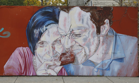 NEW YORK - NOVEMBER 13:  Mural art in Red Hook section of Brooklyn on November 13, 2014. A mural is any piece of artwork painted or applied directly on a wall, ceiling or other large permanent surface 新聞圖片